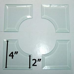 """4x4 Inside Curved Corner Bevel Set Match 2"""" Wide Bevels"""