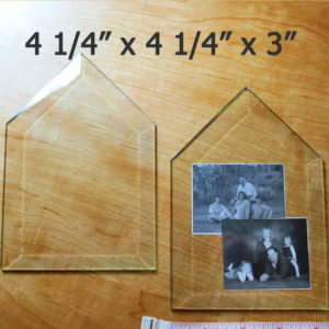 "4 1/4"" x 4 1/4"" x 3"" Clear Bevel House (4.25 x 4.25 x 3 inch)"