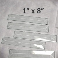 "1"" x 8"" Clear Bevel Rectangle (1 inch x 8 inch)"
