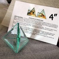 "Project Kit: 4"" 3D Triangle Cube - (4) 4 Inch Clear Glass Triangle Bevels"