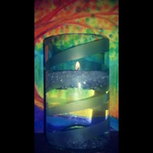 Recycled Floating Candle Made Using G2 Bottle Cutter and Mckays Etching Cream