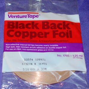 7/32″ Copper Foil Tape BLACK BACK – 36 yards – Venture Tape