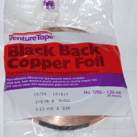 "3/8"" Copper Foil Tape BLACK BACK - 36 yards - Venture Tape"