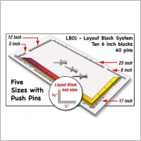 "Morton LB01- Layout Block System Squares - 10 - 6"" blocks + 40 Push Pins - Hold your project together - GlassSupplies41.com"
