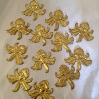 Solid BRASS Filigree - Iris Flower Stamping - for Soldered Accent - 12 Pack - GlassSupplies41.com