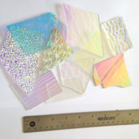 8 oz Dichroic Scrap Glass 90COE on Clear - 1 Inch + sized pieces - GlassSupplies41.com