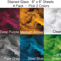 6 x 8 Inch Stained Glass Sheets - 4 Pack - Pick TWO Colors - Assorted Colors
