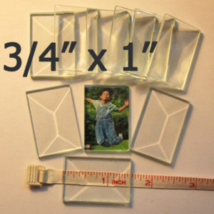 "3/4"" x 1"" Clear Bevel Rectangle (.75 inch x 1 inch)"