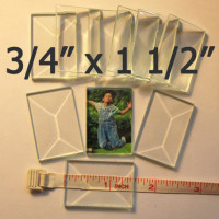 "3/4"" x 1 1/2"" Clear Bevel Rectangle (.75 inch x 1.5 inch)"