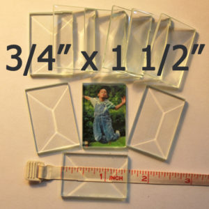 """3/4"""" x 1 1/2"""" Clear Bevel Rectangle (.75 inch x 1.5 inch)"""
