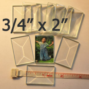"""3/4"""" x 2"""" Clear Bevel Rectangle (.75 inch x 2 inch)"""