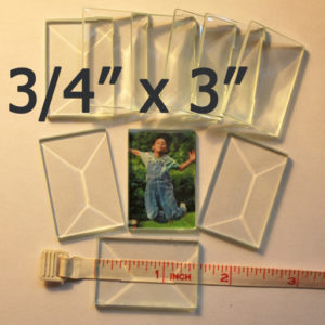 """3/4"""" x 3"""" Clear Bevel Rectangle (.75 inch x 3 inch)"""