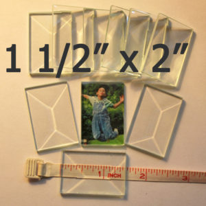 """1 1/2"""" x 2"""" Clear Bevel Rectangle (1 1/2 inch x 2 inch)"""