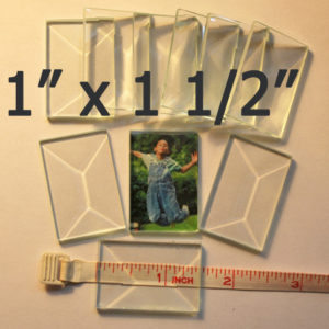 """1"""" x 1 1/2"""" Clear Bevel Rectangle (1 inch x 1.5 inch)"""