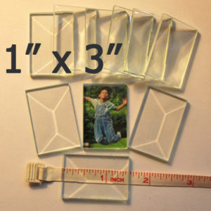 """1"""" x 3"""" Clear Bevel Rectangle (1 inch x 3 inch)"""