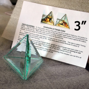 """Project Kit: 3"""" 3D Triangle Cube - (4) 3 Inch Clear Glass Triangle Bevels"""