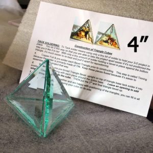 """Project Kit: 4"""" 3D Triangle Cube - (4) 4 Inch Clear Glass Triangle Bevels"""