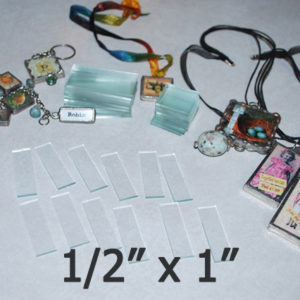 """1/2"""" x 1"""" Rectangles Clear Flat Glass (.5 inch x 1 inch)"""