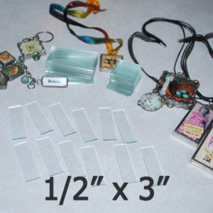 """1/2"""" x 3"""" Rectangles Clear Flat Glass (.5 inch x 3 inch)"""