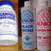 Soldering Chemicals Combo- 8 oz ea. Blu-Glass Flux, Novacan Copper Patina, and Black Patina