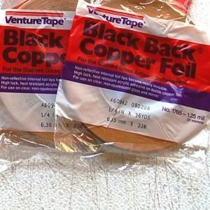 "1/4"" Copper Foil Tape BLACK BACK - 36 yards - Venture Tape"