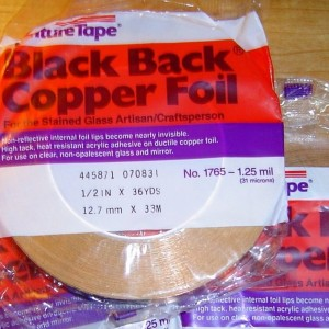 "1/2"" Copper Foil Tape BLACK BACK - 36 yards - Venture Tape"