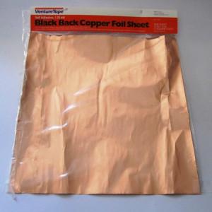 "BLACK BACK Copper Foil SHEET - 12""x12"" - Adhesive Backed - Venture Tape"