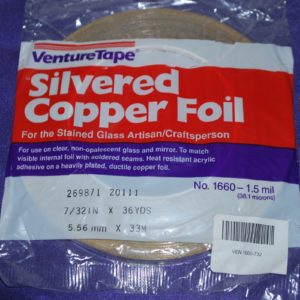 """7/32"""" Copper Foil Tape SILVERED (silver both sides) - 36 yards - Venture Tape"""
