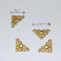 Solid BRASS Filigree - CORNER Stampings for Soldered Accent (or Box Lift)