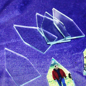 House Shaped 1-1/2 inch x 3 inch tall Clear Flat Glass (4 pack) - Pre cut shapes for your art glass jewelry needs!
